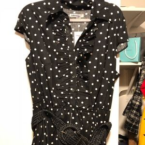 Polka dot black and white dress with belt.
